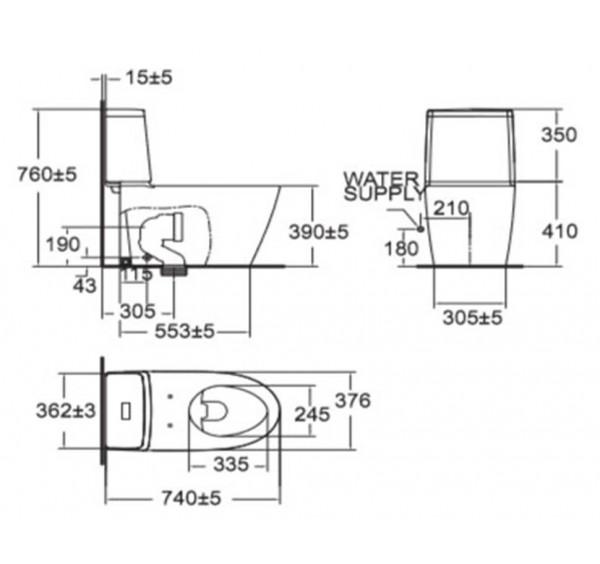 American Standard Tf 2307 Acacia Evo Close Couple Water Closet