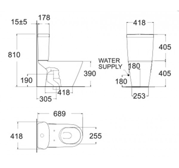 American Standard TF2103 Tonic close coupled water closet