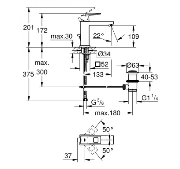 Grohe 23445000 Eurocube M Size Basin Mixer