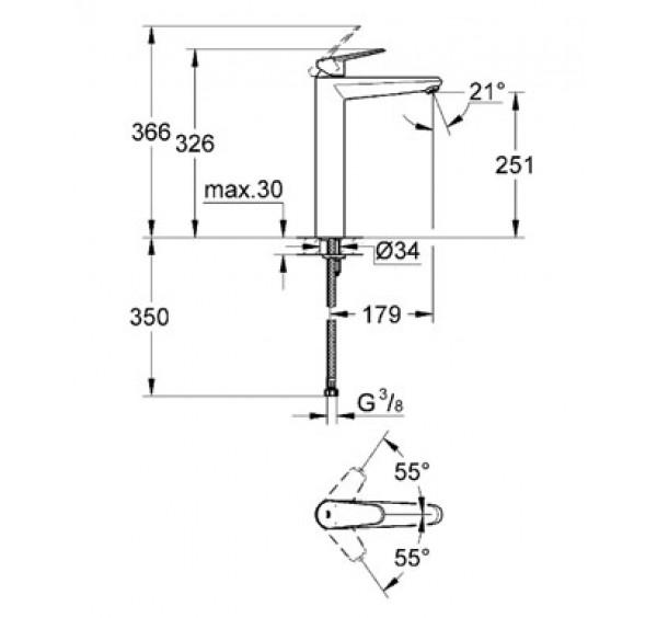Grohe 23432000 Eurodisc Cosmopolitan Xl Size Basin Mixer