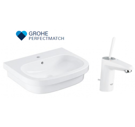 Grohe Eurosmart Basin With Eurodisc Joy White Basin Mixer