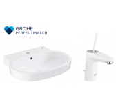 Grohe Eurocosmo Basin With Eurodisc Joy White Basin Mixer